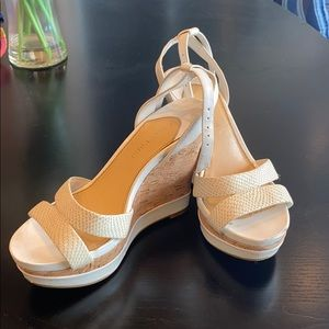 Gianni Bini White Wedges with Cork accent